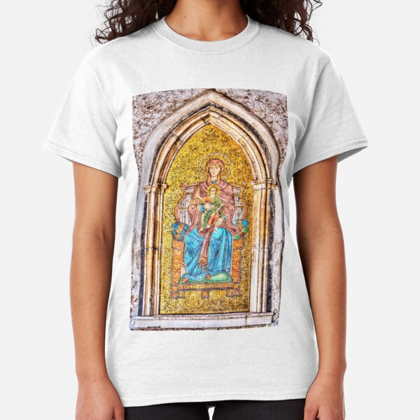 Golden Mosaic of Mary and Jesus on a Wall in Taromina, Sicily Classic T-Shirt