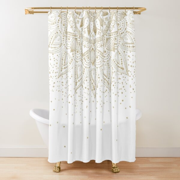 Elegant Gold Mandala Confetti Design Shower Curtain