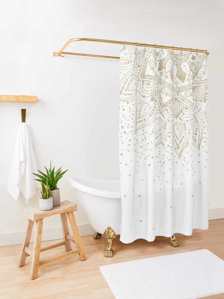 Alternate view of Elegant Gold Mandala Confetti Design Shower Curtain