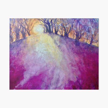 shadows blues sunset purples winter Hardcopy 5x7 watercolor print whimsical trees sunshine forest woods