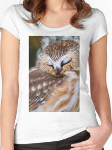 Northern Saw Whet Owl - Ottawa, Canada Women's Fitted Scoop T-Shirt