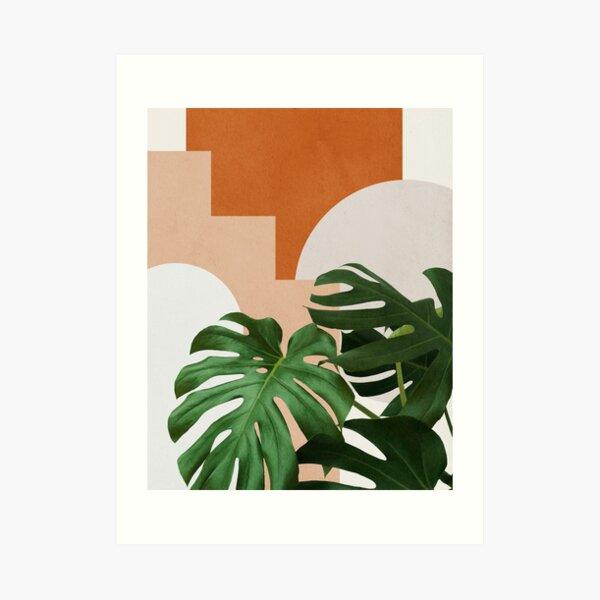 Abstract shapes art, Tropical monstera leaves, Mid century modern art Art Print