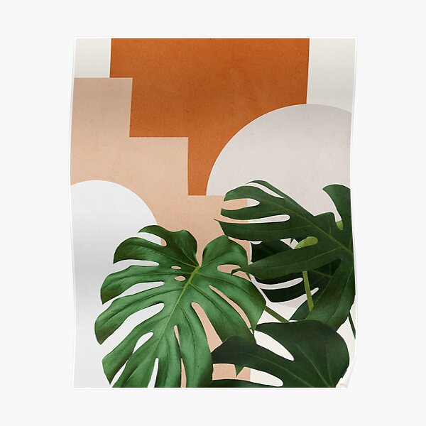 Abstract shapes art, Tropical monstera leaves, Mid century modern art Poster