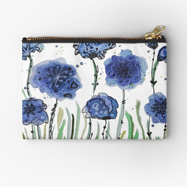 Blue flowers Zipper Pouch