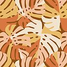 Color Block Monstera Leaves in Rust by latheandquill