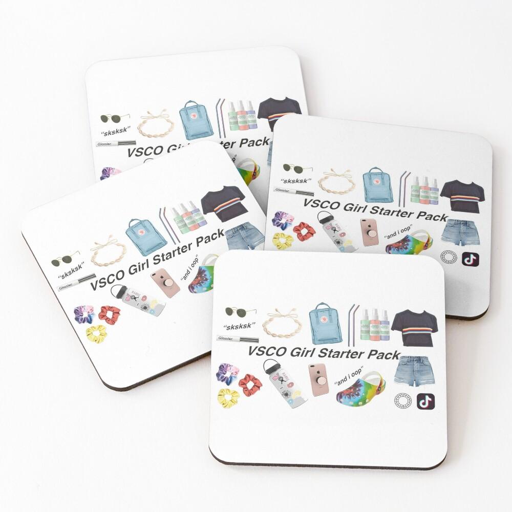 vsco girl starter pack, vsco girl packs Coasters (Set of 4)