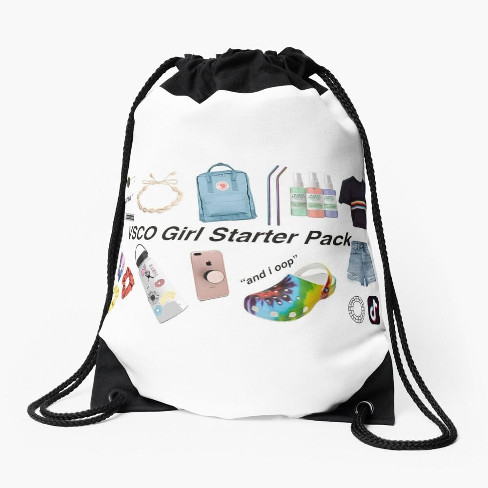 vsco girl starter pack Drawstring Bag