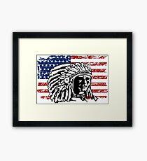 American Indian - USA Flag - Vintage Look Framed Print