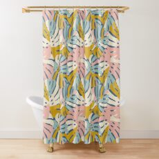 Color Block Monstera in Blue + Pink Shower Curtain