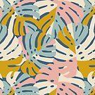 Color Block Monstera in Blue + Pink by latheandquill