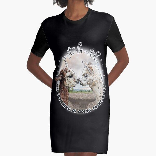 Just Breath Adorable Alpacas   Graphic T-Shirt Dress