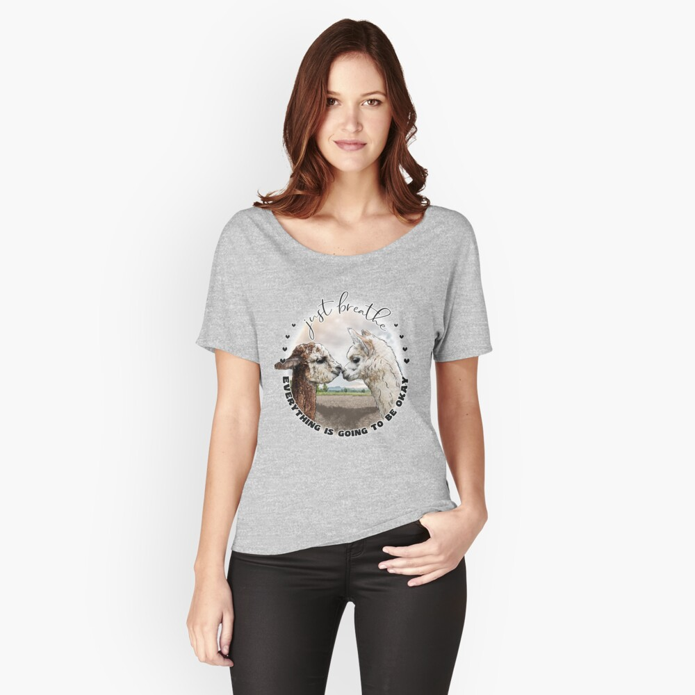 Just Breath Adorable Alpacas   Relaxed Fit T-Shirt