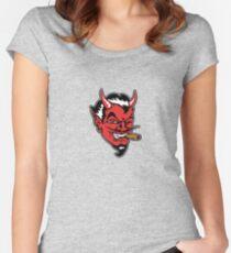 Retro devil head geek funny nerd Women's Fitted Scoop T-Shirt