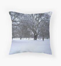 Snowy park scene Throw Pillow