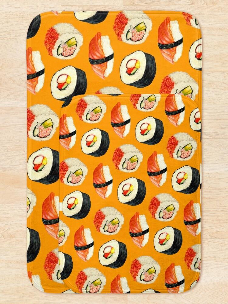 Alternate view of Sushi Pattern - Orange Bath Mat
