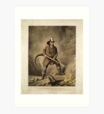 The American Fireman: Facing the Enemy (1858) Art Print