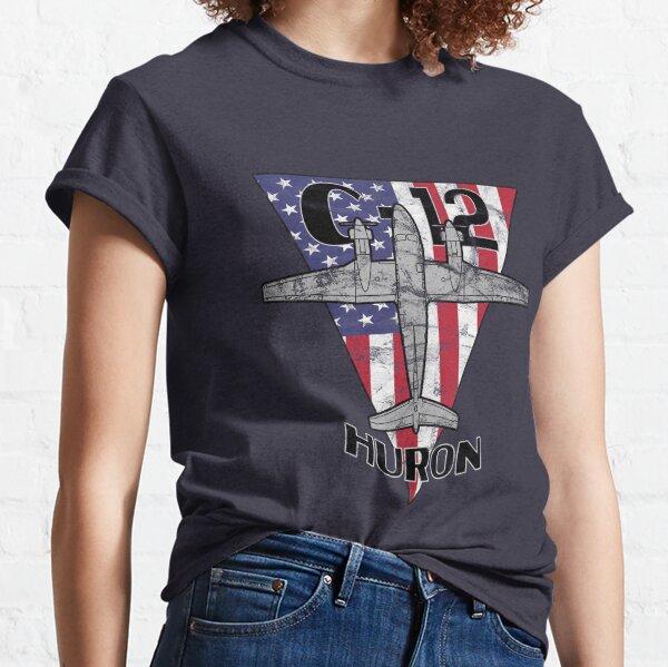 C-12 Huron Transport Airplane Patriotic Vintage  Classic T-Shirt