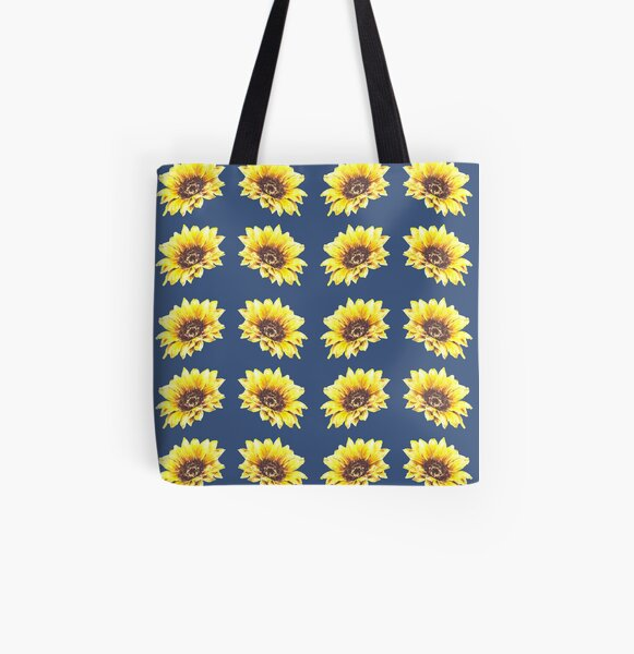 Watercolor Sunflower Petal Pattern All Over Print Tote Bag