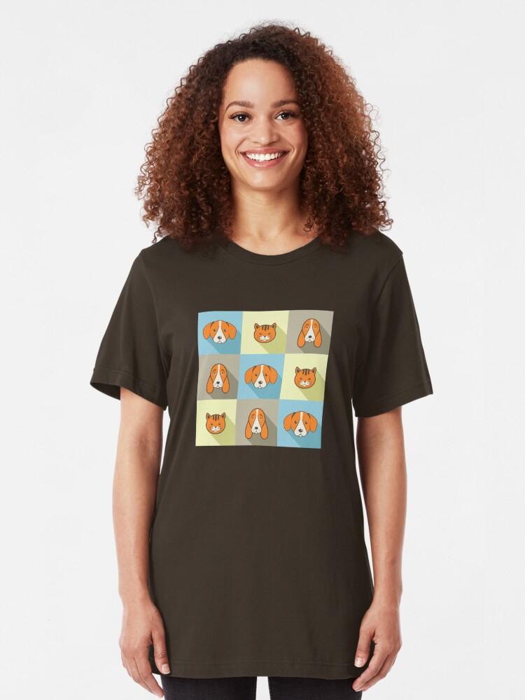Alternative Ansicht von Zwei Hunde Eine Katze Slim Fit T-Shirt