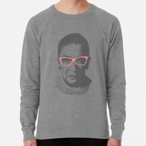Ruth Bader Ginsburg RBG With Pink Glasses Lightweight Sweatshirt