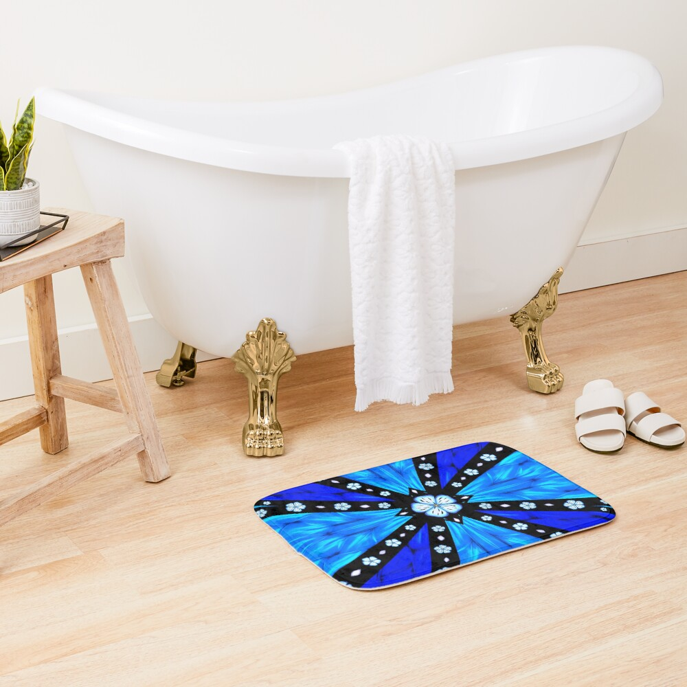 Onyx Beams of Flowers and Gems Bath Mat