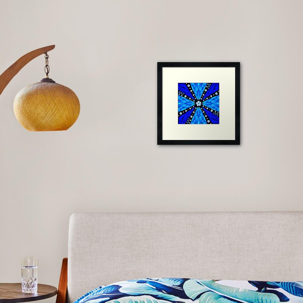 Onyx Beams of Flowers and Gems Framed Art Print