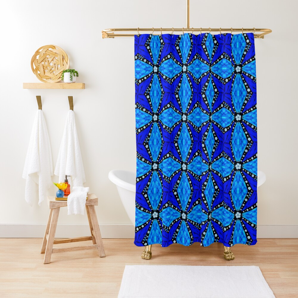 Onyx Beams of Flowers and Gems Shower Curtain