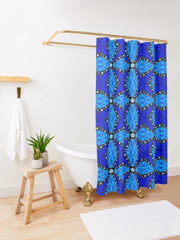 Alternate view of Onyx Beams of Flowers and Gems Shower Curtain