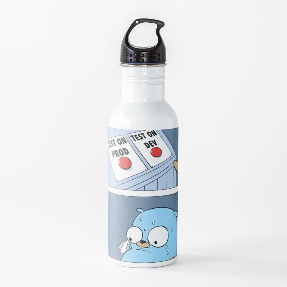 Golang Gopher Two Buttons Water Bottle
