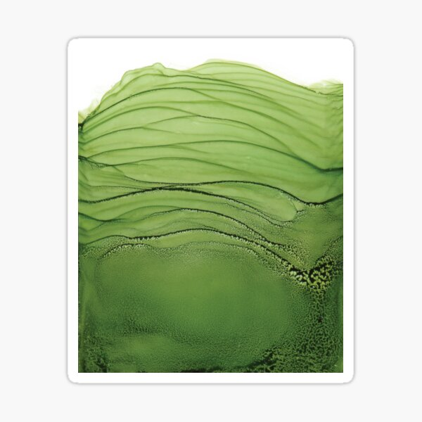 Chartreuse Waves Alcohol Art Painting Sticker