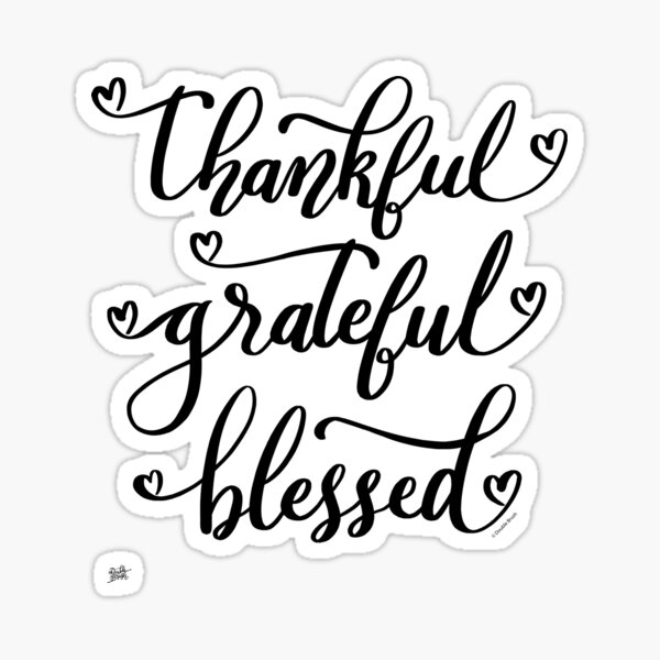 Thankful Grateful Blessed Thanksgiving Hearts of Love Design Sticker