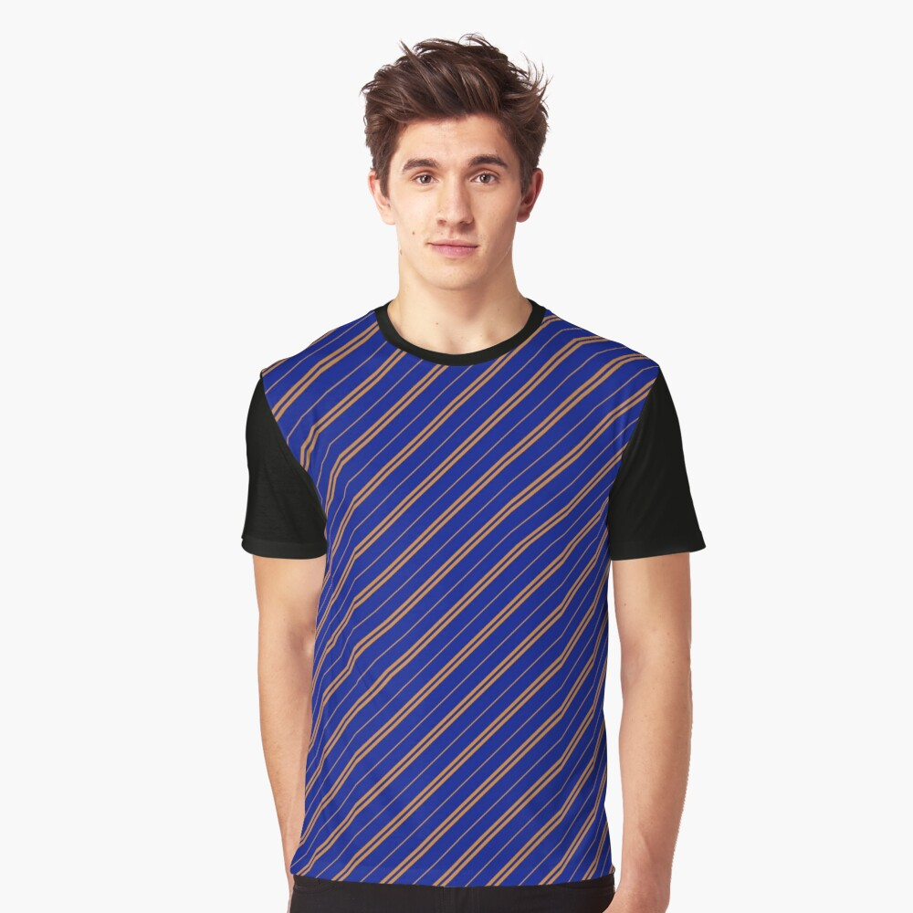 Stripes (Thin) - Blue and Bronze Graphic T-Shirt