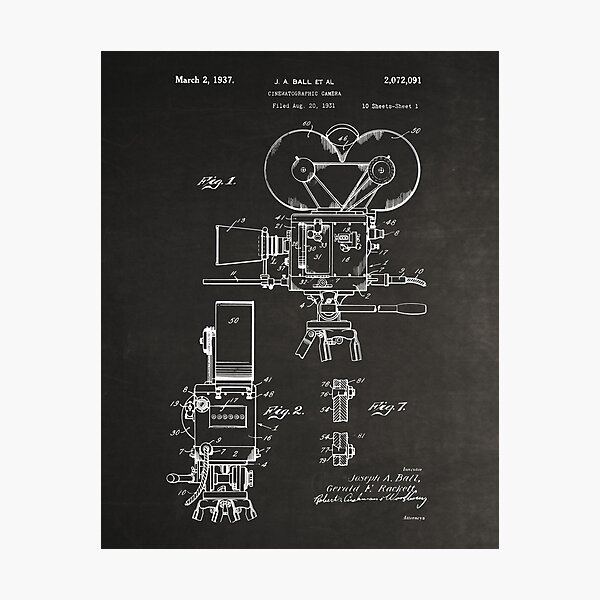 Moviemaker Film Camera Patent Drawings 1937 Photographic Print