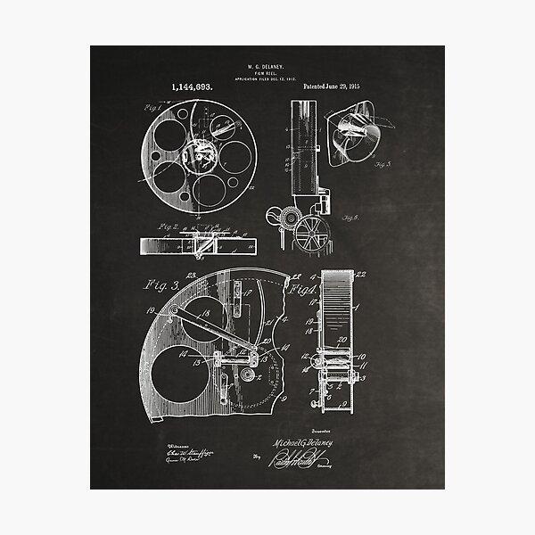 Cameraman Film Reel Patent Drawings 1915 Photographic Print