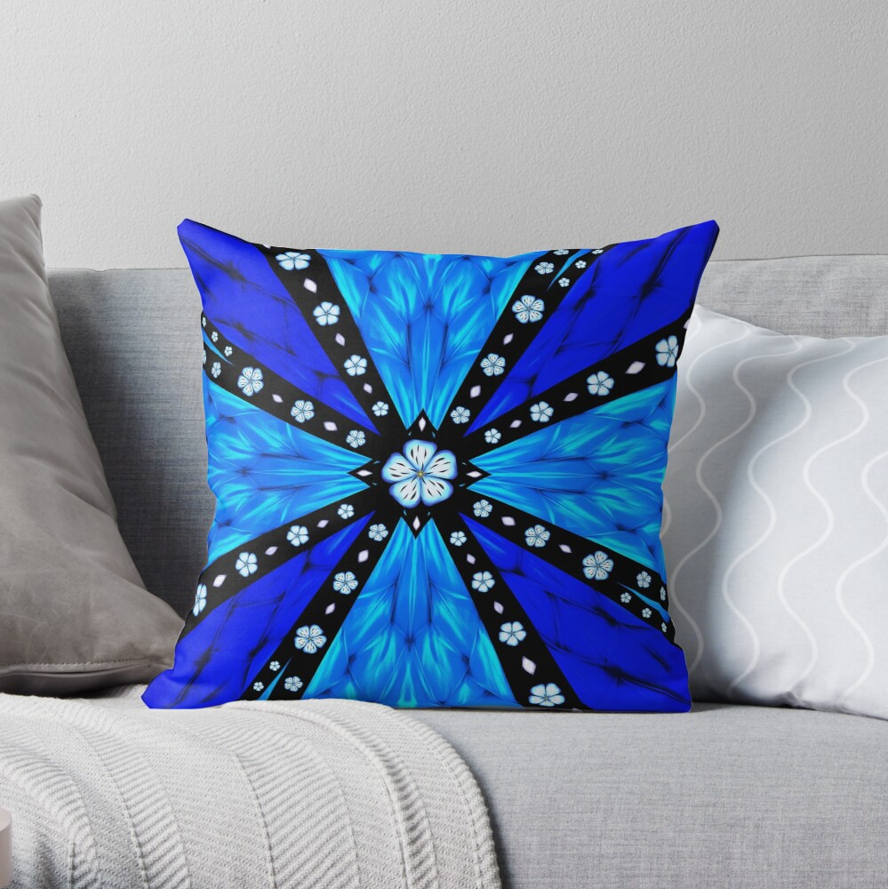 Onyx Beams of Flowers and Gems Throw Pillow