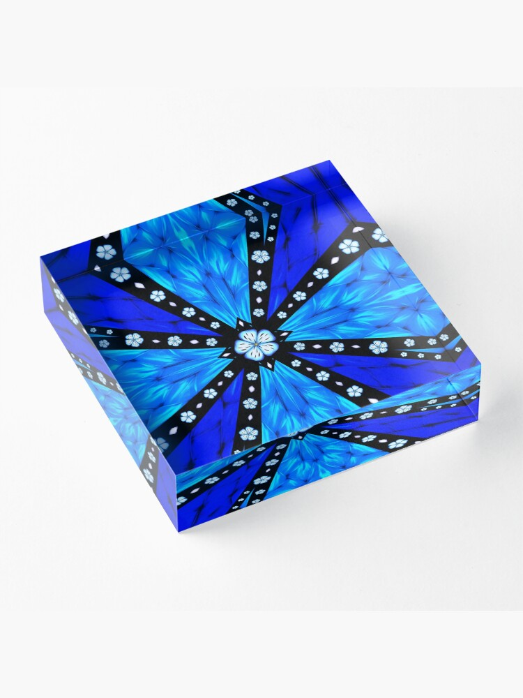 Alternate view of Onyx Beams of Flowers and Gems Acrylic Block