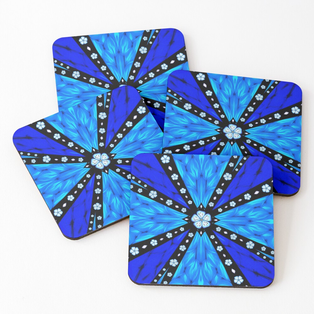 Onyx Beams of Flowers and Gems Coasters (Set of 4)