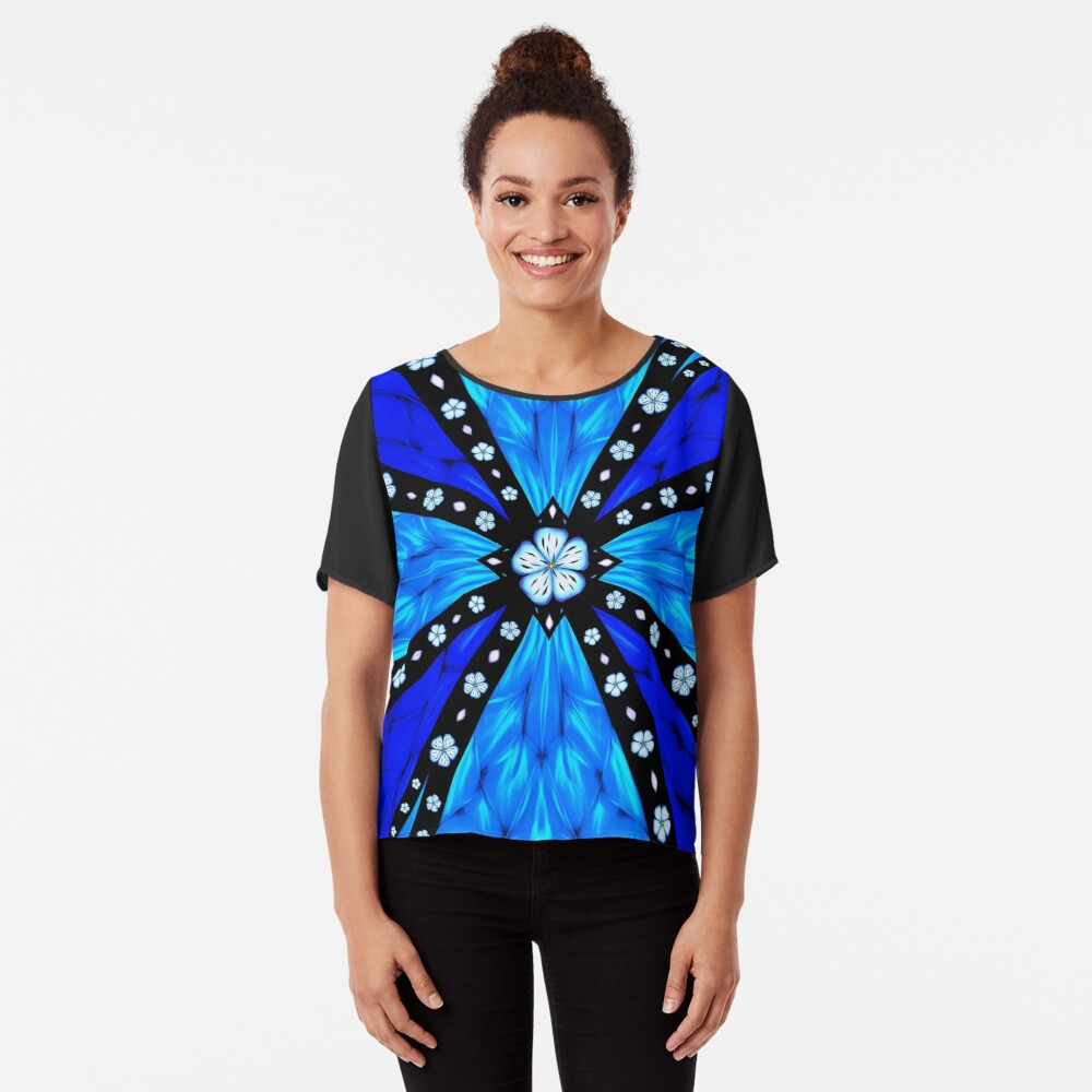 Onyx Beams of Flowers and Gems Chiffon Top