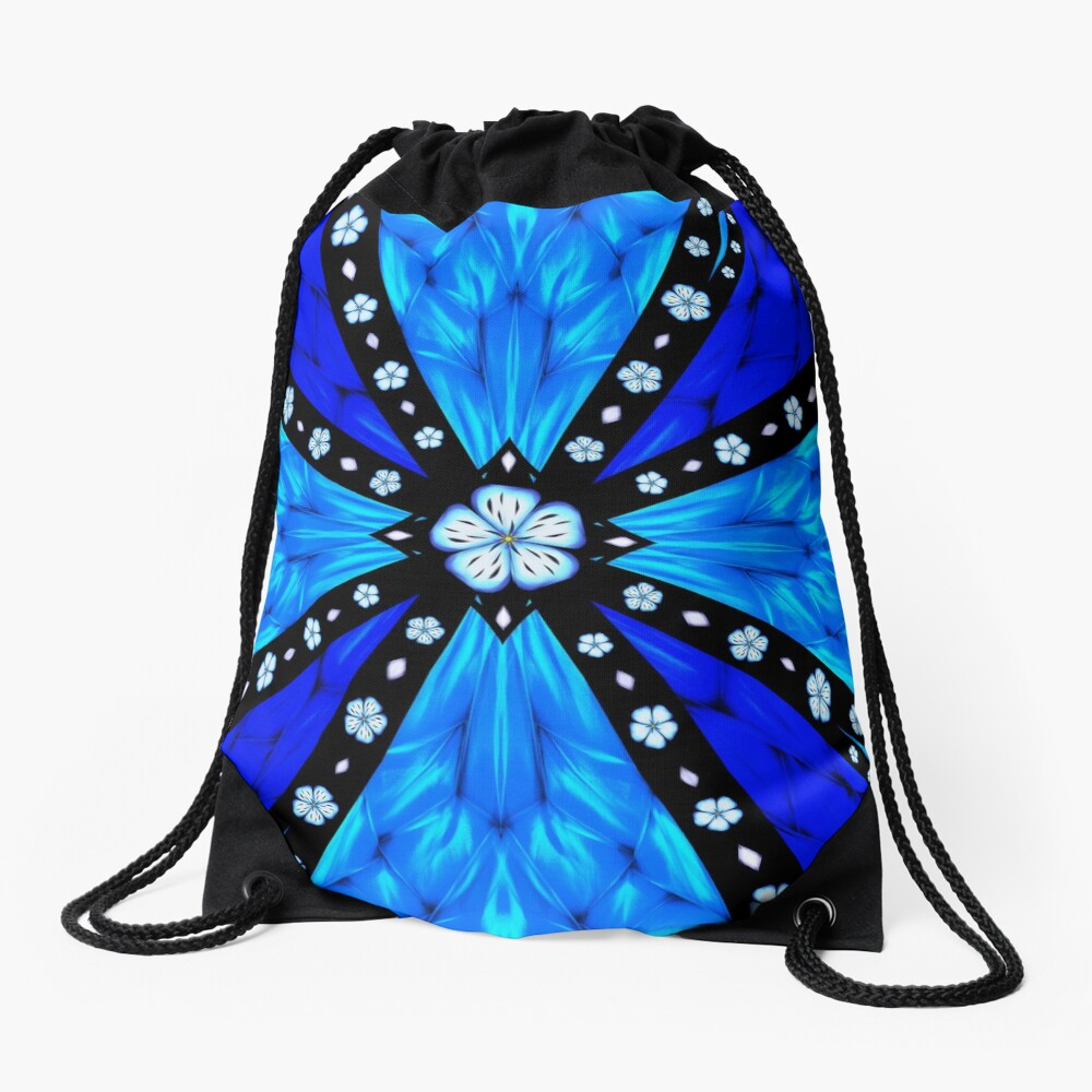 Onyx Beams of Flowers and Gems Drawstring Bag