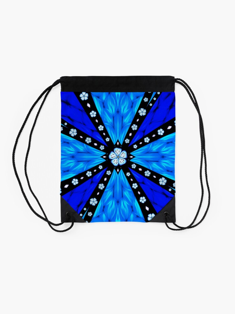 Alternate view of Onyx Beams of Flowers and Gems Drawstring Bag