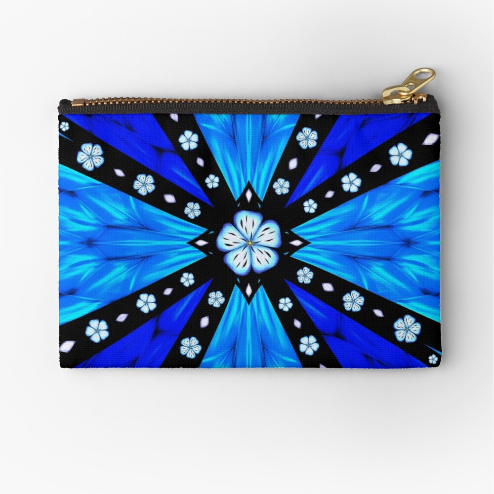 Onyx Beams of Flowers and Gems Zipper Pouch
