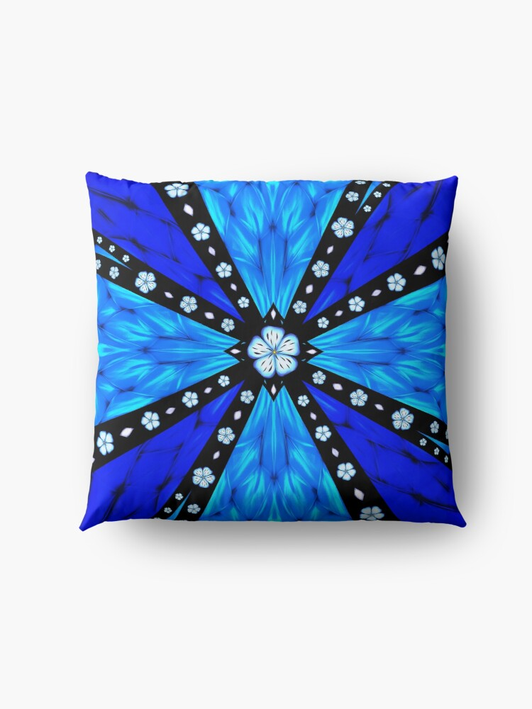 Alternate view of Onyx Beams of Flowers and Gems Floor Pillow