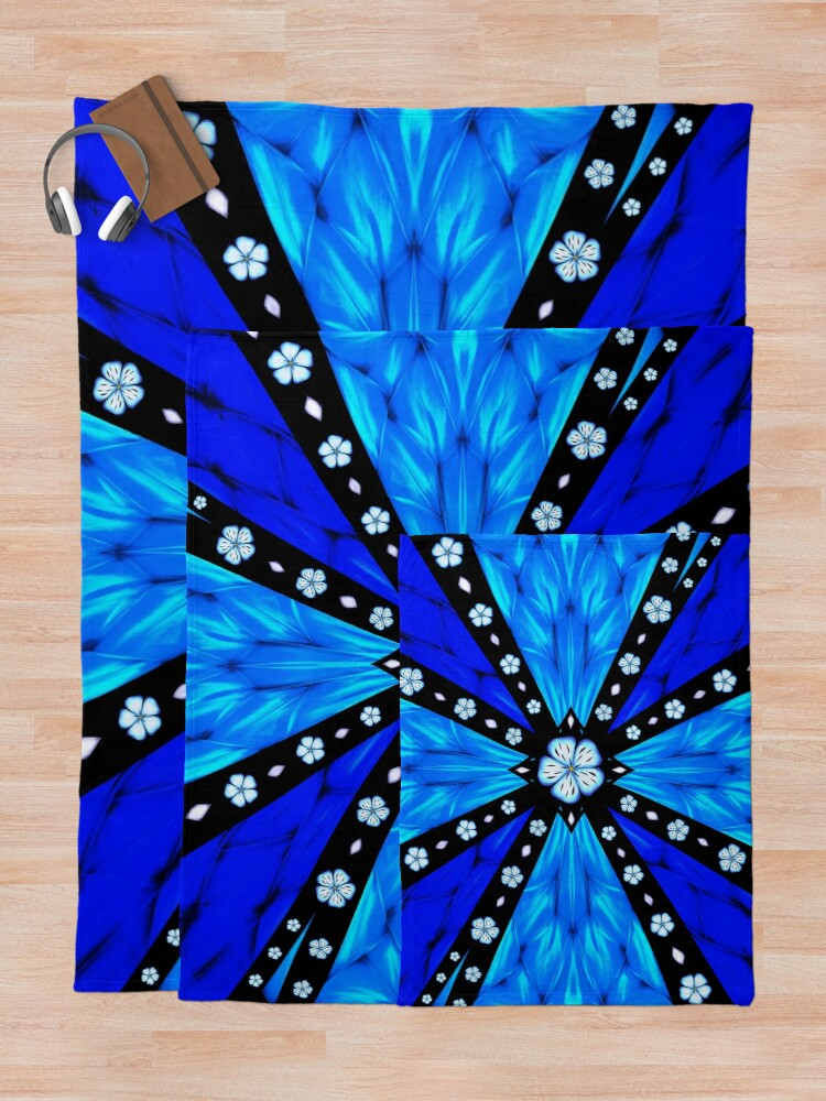Alternate view of Onyx Beams of Flowers and Gems Throw Blanket