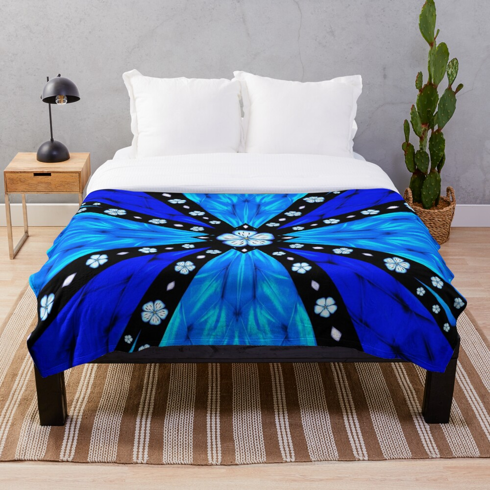 Onyx Beams of Flowers and Gems Throw Blanket