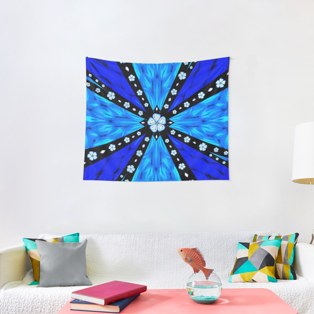 Onyx Beams of Flowers and Gems Tapestry