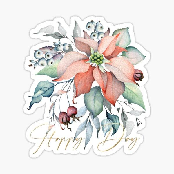 Happy Day – Poinsettia. Flower bouquet  Sticker