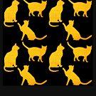 Goldene Katzen-Schwarz von Yamy Morrell  Art and Design