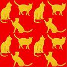 Goldene Katzen-Rot von Yamy Morrell  Art and Design