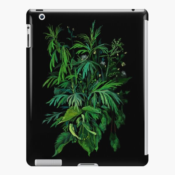 Green and Black, Summer Greenery, Colorful Floral  iPad Snap Case