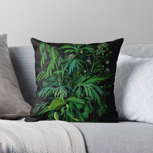 Green and Black, Summer Greenery, Colorful Floral  Throw Pillow